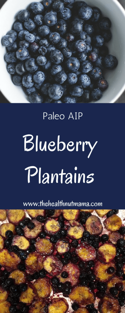 A delicious quick & easy side for breakfast! You won't even miss blueberry pancakes! A cross between blueberry pancakes & blueberry cobbler! (AIP, Paleo) www.thehealthnutmama.com