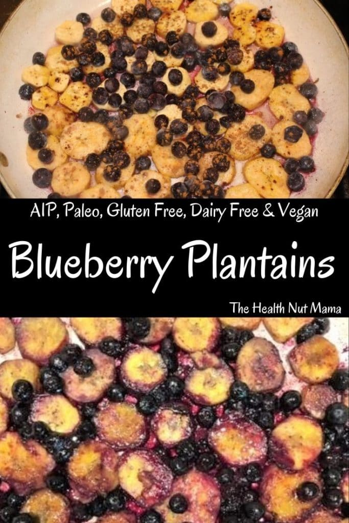 AIP Paleo Blueberry Plantains are a delicious quick & easy side for breakfast! You won't even miss blueberry pancakes! A cross between blueberry pancakes & blueberry cobbler! AIP, Paleo, Gluten Free, & Vegan #aip #paleo #glutenfree #dairyfree #breakfast #side #recipe #vegan #thehealthnutmama.com