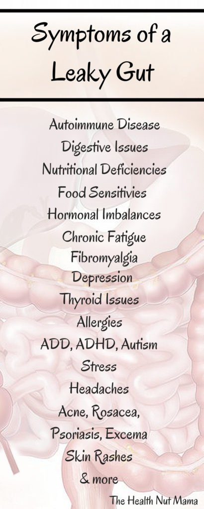 Do you have a Leaky Gut? If you have any of these symptoms, you might have. Find out how to heal by clicking on this post. #leakygut #autoimmune #disease #foodallergies #hypothyroid #fibromyalgia #depression #ADHD #autism #stress #IBS #digestiveissues #acne #rashes #excema #psoriosis #headaches #thehealthnutmama www.thehealthnutmama.com