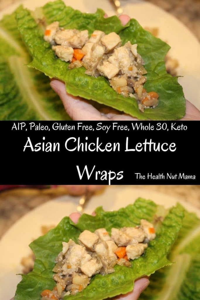 AIP Paleo Asian Chicken Lettuce Wraps are not only healthy but delicious! Fun for Kids & so easy to make. #aip #paleo #whole30 #glutenfree #soyfree #keto #lowcarb #asianrecipes #asianfood #healthy #recipe #thehealthnutmama