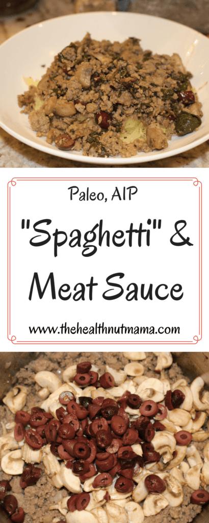 Paleo AIP Spaghetti with Meat Sauce - A Delicious alternative to traditional Spaghetti & Meat Sauce using Spaghetti Squash - www.thehealthnutmama.com