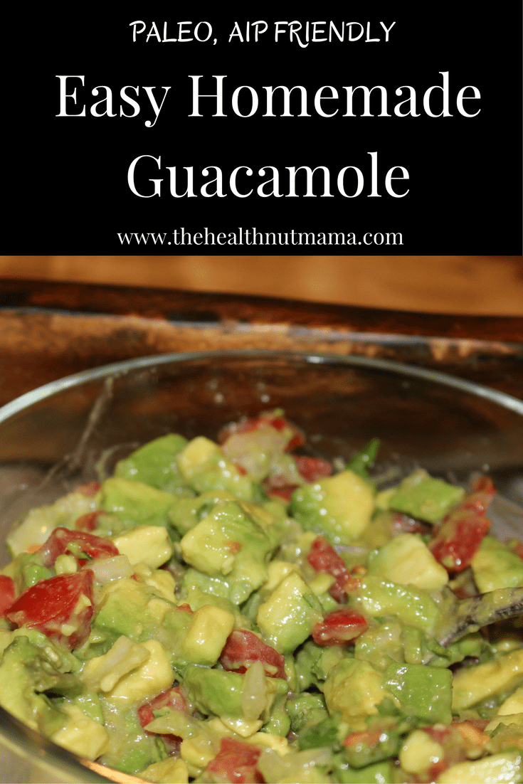 Easy Homemade Guacamole. Here is a Quick Easy Paleo, AIP Friendly Homemade Guacamole. Can be ready in a matter of minutes! www.thehealthnutmama.com