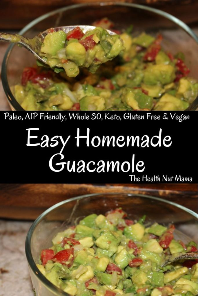 Easy Homemade Guacamole is so easy to make I wish I had made it sooner. Now I can have this delicious appetizer anytime I want. Not only is it delicious it is so healthy too! #aipfriendly #paleo #whole30 #vegan #keto #lowcarb #avocado #guacamole #vegan #appetizer #thehealthnutmama