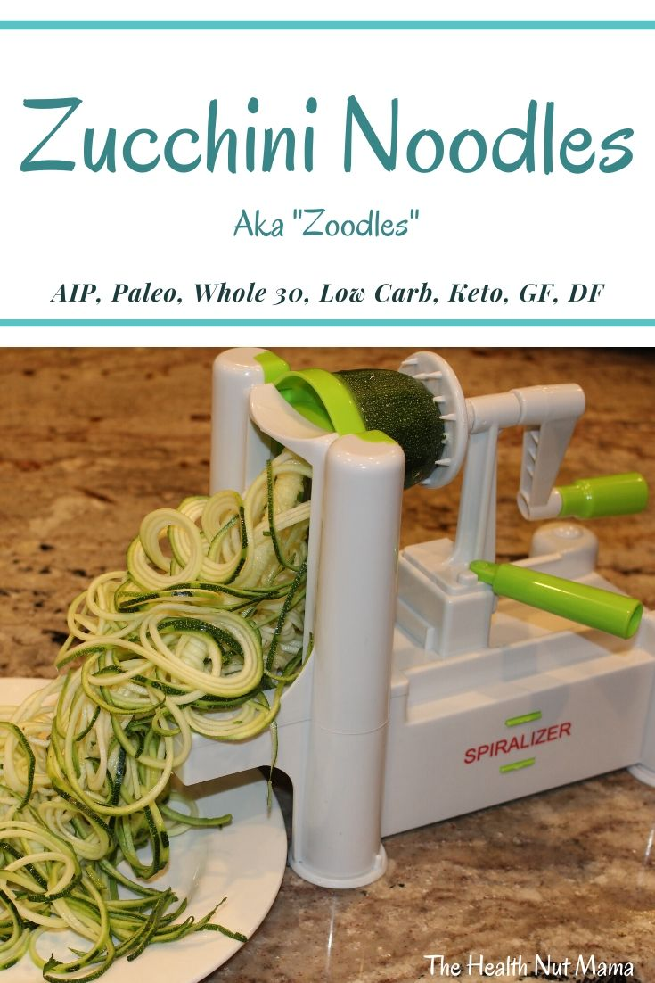 These AIP Paleo Zucchini Noodles are a grain free alternative to pasta that is low carb & gluten free. It is whole 30, keto, & vegan too. Fun for the kids to help make too! #aip #paleo #zucchini #zoodles #whole30 #keto #lowcarb #vegan #pastaalternative #noodles #glutenfree #thehealthnutmama