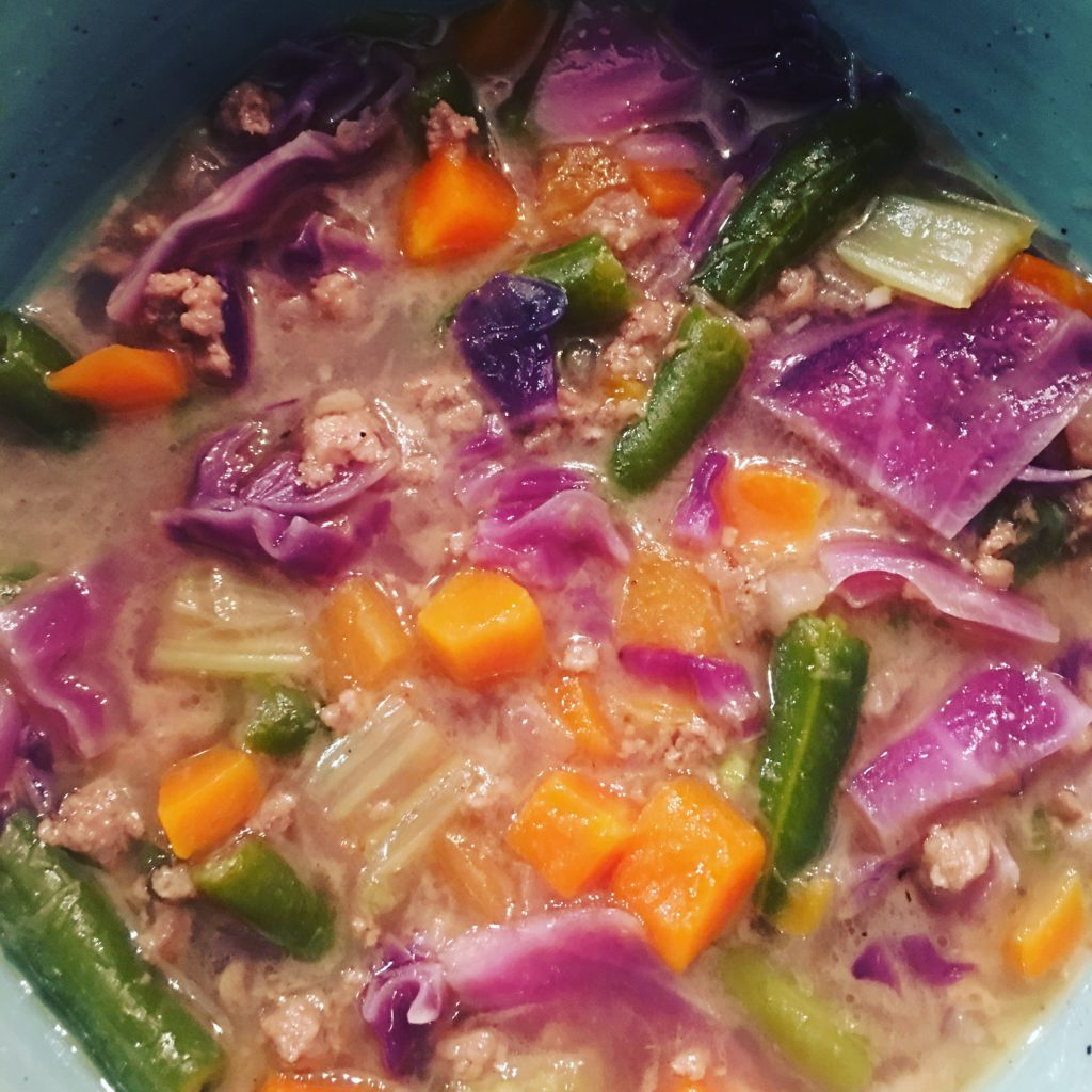 Hamburger & Purple Cabbage Soup - Perfect for Fall. I love all the beautiful colors of this soup. Healthy, Nutritious & Delicious! - www.thehealthnutmama.com