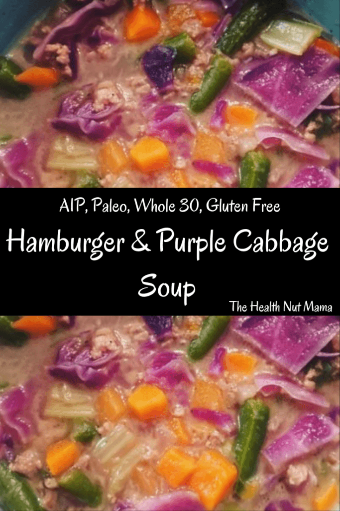 AIP Paleo Hamburger & Purple Cabbage Soup is so easy to make & healthy too. This soup is soothing & delicious. Using Bone Broth helps to heal leaky gut. Whole 30 too. #aip #paleo #whole30 #glutenfree #soyfree #soup #hamburger #recipe #leakygut #bonebroth #thehealthnutmama