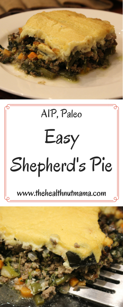 Easy Paleo, AIP Friendly Shepherd's Pie! This is packed with nutrients & flavor! Delicious & Easy! www.thehealthnutmama.com