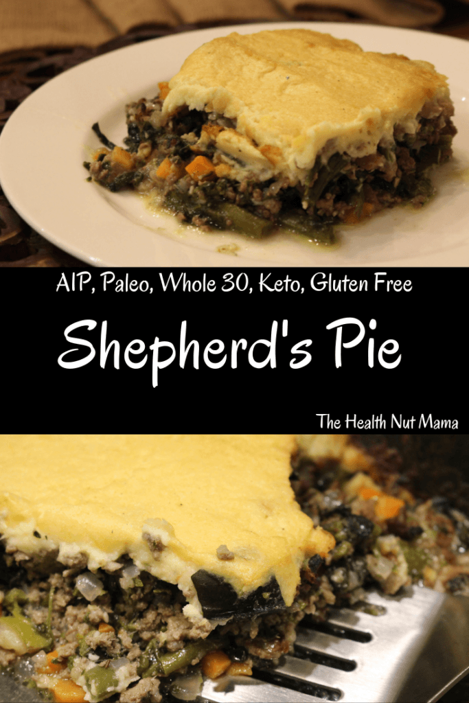 AIP Paleo Shepherd's Pie just like my Grandmother use to make except healthier. It is so good you won't even miss the mashed potato topping. Comfort food at it's finest. Whole 30, Keto & Gluten Free. #aip #paleo #whole30 #keto #lowcarb #glutenfree #shepherdspie #comfortfood #entertaining #thehealthnutmama www.thehealthnutmama.com