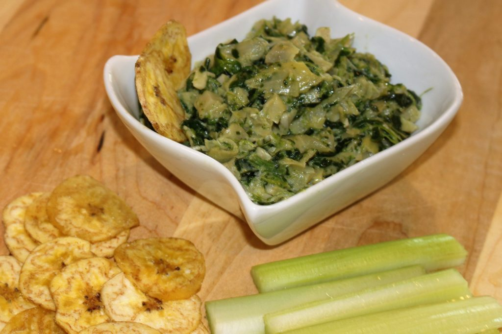 Easy AIP Paleo Artichoke Spinach Dip. Can serve warm or cold! Delicious either way! So easy! www.thehealthnutmama.com