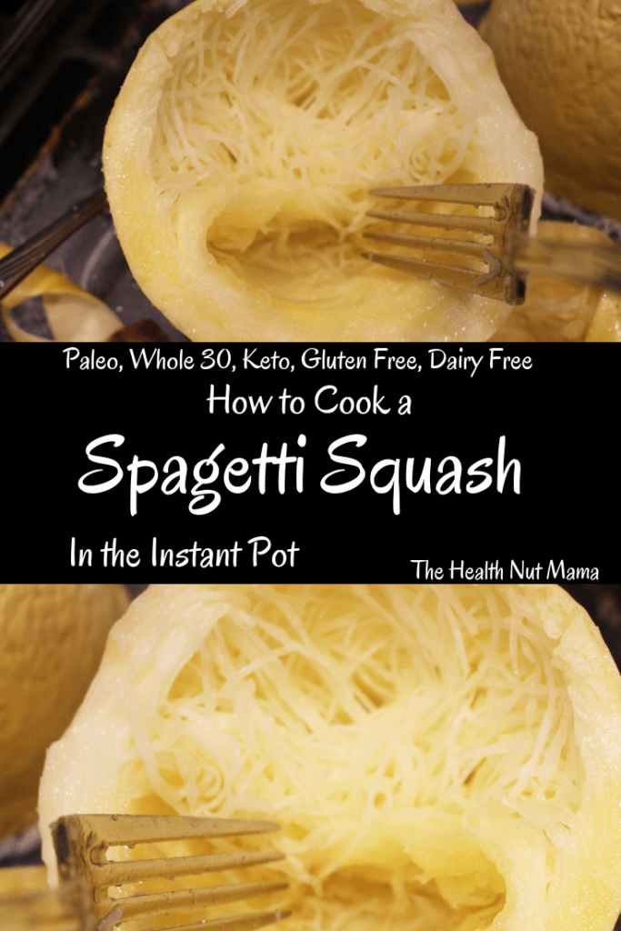 Cooking a Spaghetti Squash in the Instant Pot is the easiest & fastest way to cook a Spaghetti Squash. A great pasta alternative. Perfect for the AIP, Paleo, Whole 30, Keto, Low Carb, Gluten Free, & Vegan diets too! #aip #paleo #whole30 #keto #lowcarb #glutenfree #vegan #instantpot #recipe #spaghettisquash #pastaalternative #thehealthnutmama