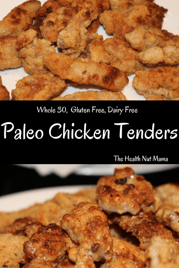 Healthy & Delicious Paleo Chicken Tenders that are so easy the kids can help. They are gluten free & dairy free. You will never want to feed your children the fast food nuggets again! #paleo #whole30 #glutenfree #dairyfree #healthy #chicken #recipe #chickentenders #chickennuggets #tenders #nuggets #thehealthnutmama www.thehealthnutmama.com