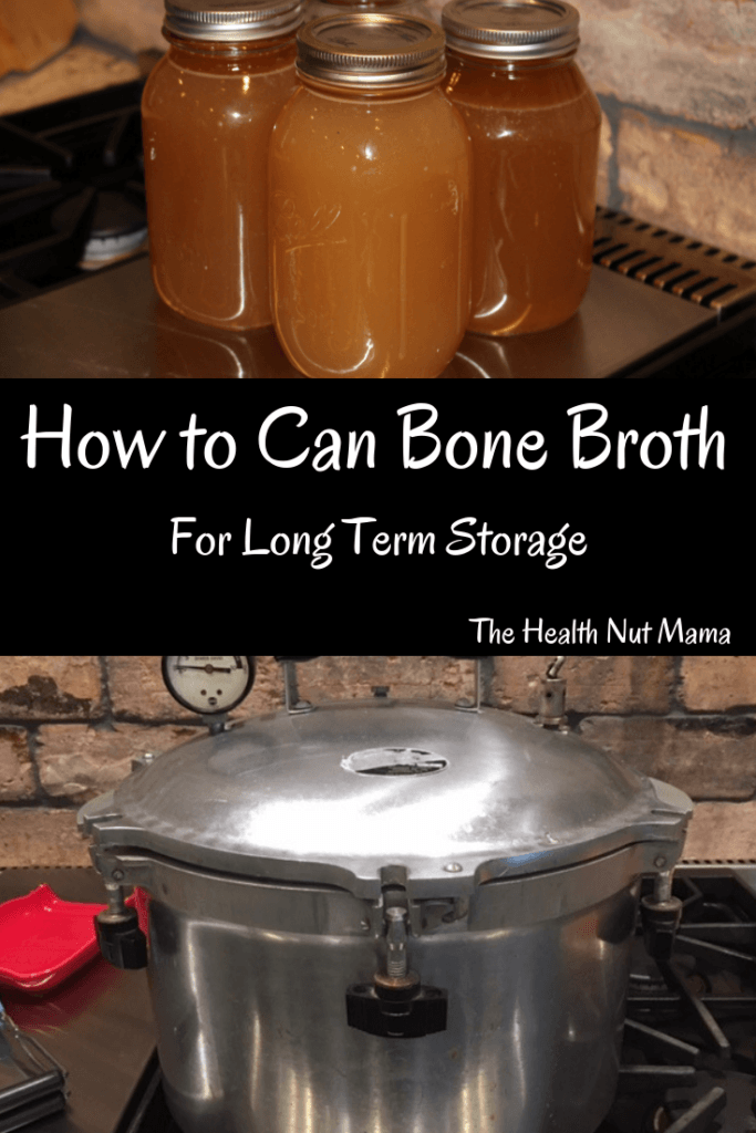 How to Can Bone Broth for long term storage. The best way to preserve bone broth & not take up precious freezer space. I love having it whenever I need it! It's a lot easier than you think! #bonebroth #canning #preserving #leakygut #aip #paleo #gaps #whole30 #keto #thehealthnutmama.com www.thehealthnutmama.com