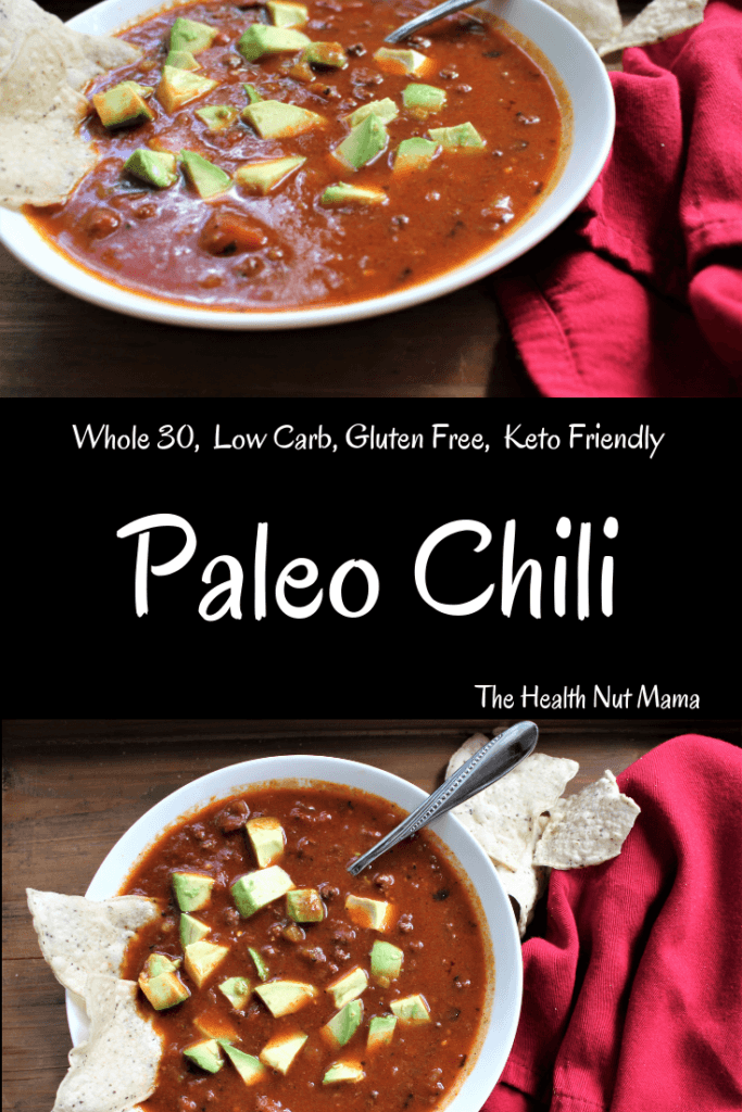 This Paleo Chili recipe is so easy & delicious! You won't even miss the beans! So much healthier than regular chili. Gluten Free, Whole 30, & Low Carb. Perfect for those cold winter nights & football season! Think Superbowl! #paleo #chili #whole30 #lowcarb #football #glutenfree #superbowl #thehealthnutmama www.thehealthnutmama.com