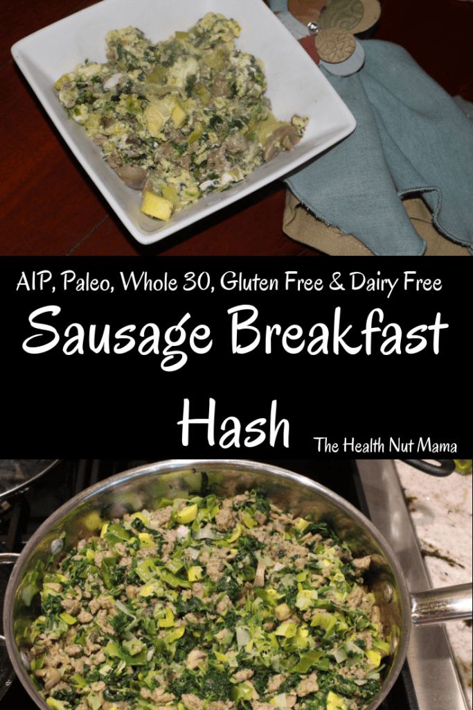 AIP Paleo Sausage Breakfast Hash is so easy & delicious! Perfect for brunch & batch cooking. Whole 30 ,lowcarb, keto & gluten free too. #aip #paleo #whole30 #glutenfree #lowcarb #keto #brunch #batchcooking #aipbreakfast #paleobreakfast #breakfast www.thehealthnutmama.com