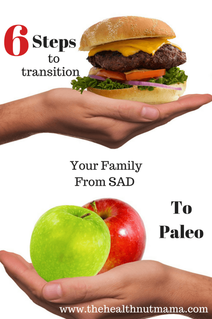 How to transition your family from SAD to Paleo in 6 easy steps! If you want to lose weight, gain energy, feel better, heal disease, then this is the diet for you! #paleo #paleodiet #loseweight #weightloss #autoimmunedisease #diabetes #hashimotos #hypothyroid #thehealthnutmama