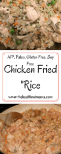 AIP Paleo Chicken Fried Rice is a Quick, Easy & Delicious One Pan Dish that is healthy too! Pack leftovers in a thermos for a hot lunch! #aip #paleo #chickenfriedrice #chickenrecipies #chicken #recipe #stirfry #kidfriendly #healthy #onepandish #easy #quick #lunchbox #autoimmuneprotocol www.thehealthnutmama.com