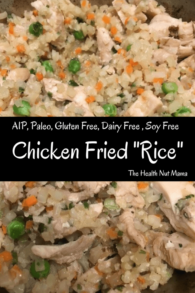 AIP Paleo Chicken Fried Rice is a Quick, Easy & Delicious One Pan Dish that is healthy too! Pack leftovers in a thermos for a hot lunch! #aip #paleo #chickenfriedrice #chickenrecipies #chicken #recipe #stirfry #kidfriendly #healthy #onepandish #easy #quick #lunchbox #autoimmuneprotocol #thehealthnutmama www.thehealthnutmama.com