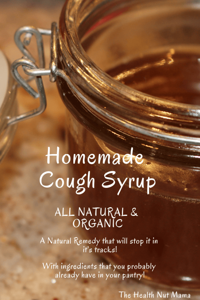 A natural organic Homemade Cough Syrup that can stop a cough in it's tracks. A natural remedy that is much better than the conventional store bought stuff that is full of sugar & nasty chemicals. You probably already have the ingredients in your pantry! www.thehealthnutmama.com #naturalremedies #homemade #cough #syrup #organic #allnatural #cold #flu