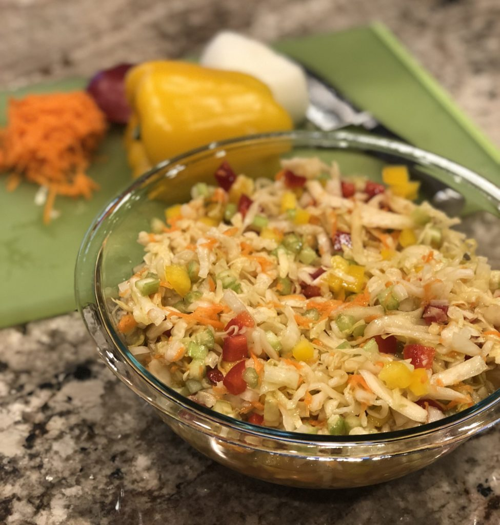 Paleo Sauerkraut Salad is so easy & delicious! Perfect for entertaining, barbecue's & potlucks! Another way to get gut healthy probiotics in! www.thehealthnutmama.com