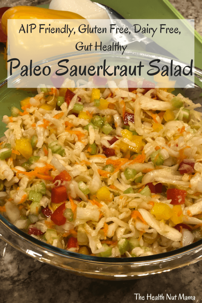Paleo Sauerkraut Salad is so easy & delicious! Perfect for entertaining, barbecue's & potlucks! Another way to get gut healthy probiotics in! #aipfriendly #aip #vegan #paleo #paleorecipes #paleosalad #salad #sauerkraut #guthealthy #leakygut www.thehealthnutmama.com