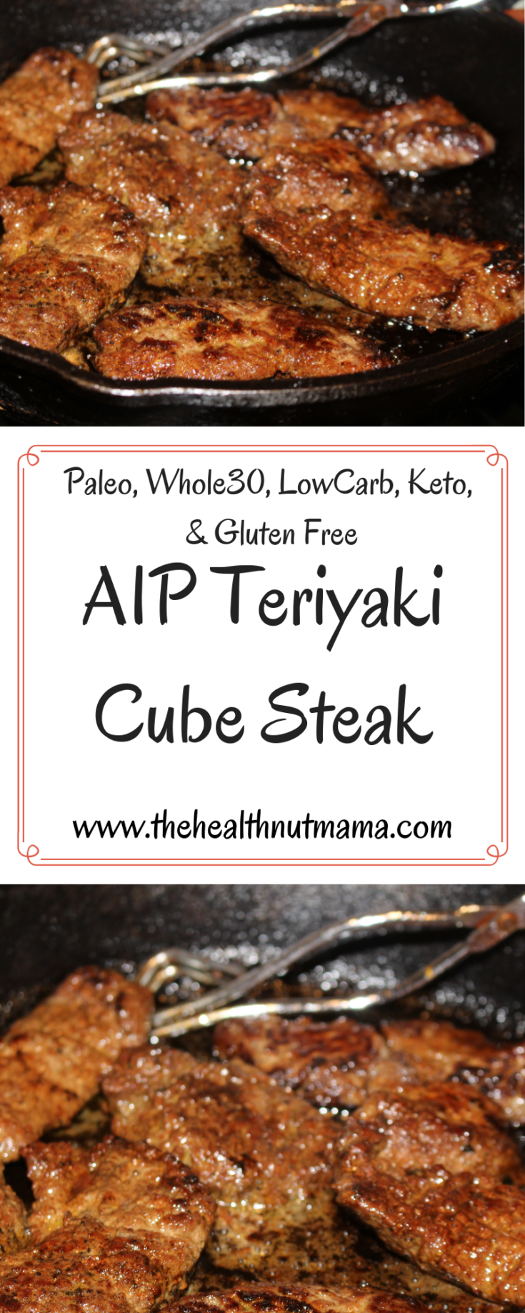 AIP Paleo Teriyaki Cube Steak is so easy & delicious. It can be used with Beef or Wild Game such as Venison. No one will be able to tell the difference! Perfect for AIP, Paleo, Whole30, Low Carb, Keto & gluten free Diets. #aip #paleo #whole30 #lowcarb #keto #glutenfree #soyfree #teriyaki #steak #venison #beef www.thehealthnutmama.com