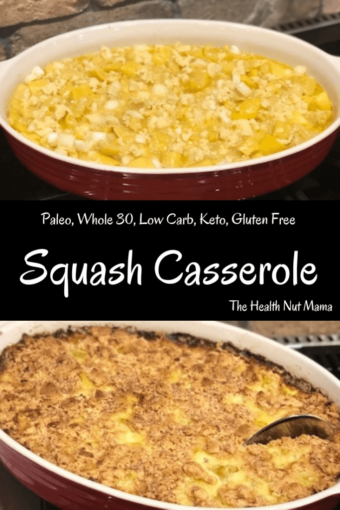This Paleo Squash Casserole is a healthy alternative to your grandmothers southern tradition. It is easy & delicious! Perfect for potlucks & entertaining. Whole 30, Low Carb, Keto, Gluten Free & Vegan. #paleo #whole30 #glutenfree #keto #vegan #squashcasserole #southern #potluck #entertaining #thehealthnutmama www.thehealthnutmama.com
