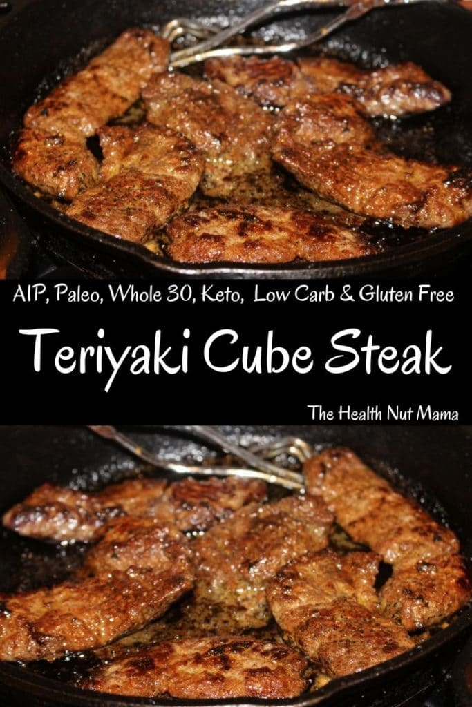 AIP Paleo Teriyaki Cube Steak is so easy & delicious. It can be used with Beef or Wild Game such as Venison. With this secret ingredient no one will be able to tell the difference! Perfect for AIP, Paleo, Whole30, Low Carb, Keto & gluten free Diets. #aip #paleo #whole30 #lowcarb #keto #glutenfree #soyfree #teriyaki #steak #venison #beef thehealthnutmama.com