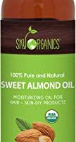 Sweet Almond Oil by Sky Organics 16oz- 100% Pure, Cold-Pressed, Organic Almond Oil. Great As Baby Oil- Anti- Wrinkles- Anti-Aging. Almond Oil- Carrier Oil for Massage.Bath Pearl & Flakes