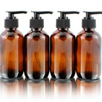 Cornucopia Brands 4oz Amber Glass Boston Round Pump Bottles (4 Pack); Great for Lotions, Liquid Soap, Aromatherapy and More