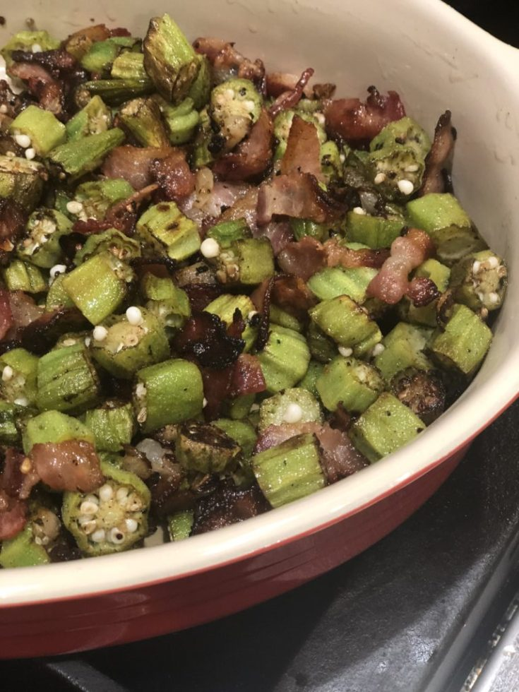 AIP Paleo Pan Fried Okra with Bacon is so easy & delicious. Gluten Free, Whole 30 & Keto too! You won't even miss the breading! #aip #paleo #whole30 #lowcarb #keto #glutenfree #sidedish #sides #healthy #okra #recipe #thehealthnutmama www.thehealthnutmama.com