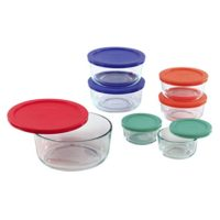Pyrex Simply Store Glass Round Food Container Set with Multi-Colored Lids (14-Piece)