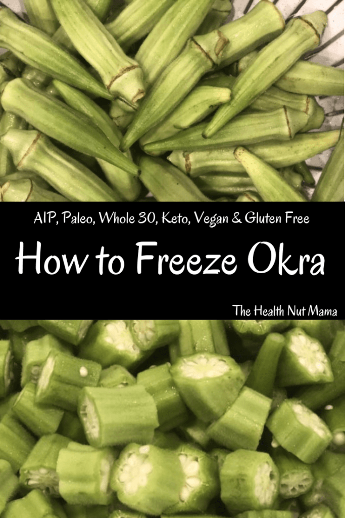 One of the best ways to preserve Okra is to freeze it. Here is step by step instructions on how to freeze it for frying, for soups & gumbos &/or whole for grilling. So many health benefits. Super easy. Aip, Paleo, Whole 30, Low Carb, Keto, Vegan, & Gluten Free. #aip #paleo #whole30 #keto #lowcarb #vegan #glutenfree #okra #preservingfood #preservingokra #longtermstorage #healthbenefits #thehealthnutmama