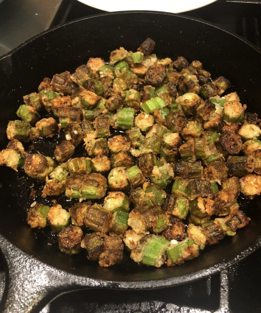 Paleo Southern Fried Okra is sooo good you wont be able to tell that its Paleo. Just like Grandma used to make except healthier. AIP, Whole 30, Keto, Gluten Free, Grain Free & Vegan #paleo #okra #southernfried #aip #whole30 #lowcarb #keto #vegan #glutenfree #grainfree #healthy #recipe #thehealthnutmama