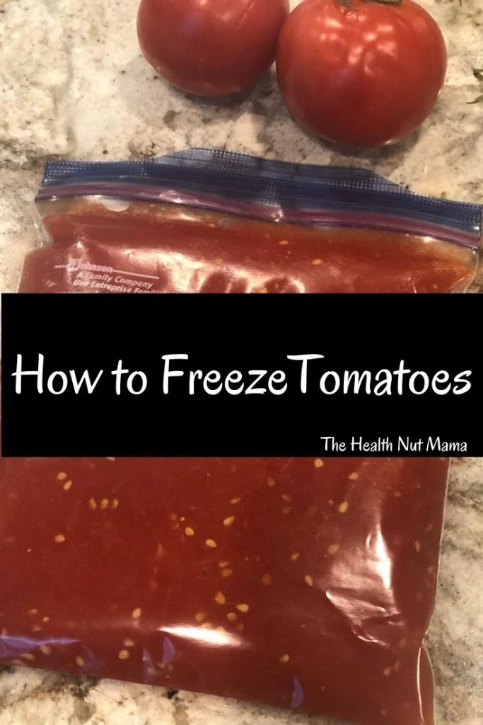 Learn How to Freeze Tomatoes for long term storage so that you can preserve all those wonderful tomatoes that are so abundant this season. #howtofreezetomatoes #tomatoes #longtermstorage #paleo #howto #freezingtomatoes #thehealthnutmama