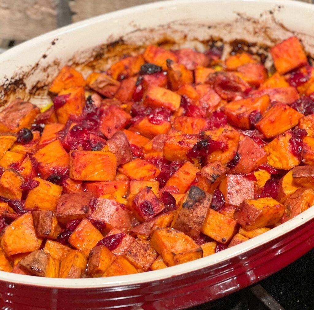 Roasted Cranberry Sweet Potatoes